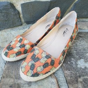 Lucky Brand Pineapple Wedge Espadrilles Size 10